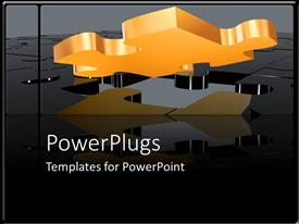 PowerPoint template displaying orange missing puzzle piece as a metaphor on a black and grey background