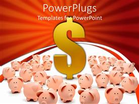 PowerPlugs: PowerPoint template with orange piggy banks surrounding large golden dollar sign