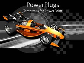 PowerPoint template displaying orange race car with black and silver checkered background