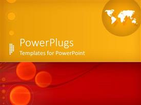 PowerPlugs: PowerPoint template with orange and red background with globe and maps in white