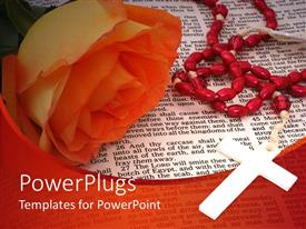 PowerPlugs: PowerPoint template with orange rose and rosary on open Bible