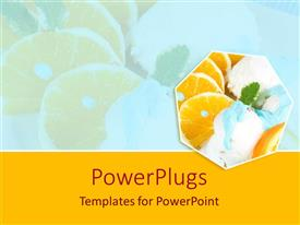 PowerPoint template displaying orange slices and vanilla ice cream, orange border, food, restaurant, hospitality, dessert, healthy eating, nutrition