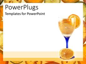 PowerPoint template displaying orange slices in wine glass with blue stem