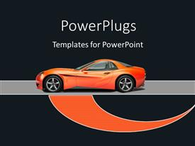 PowerPoint template displaying orange sports car on an ash colored fast lane