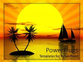 PowerPlugs: PowerPoint template with orange sunset behind sailboat and pair palm trees on calm water