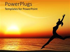 PowerPlugs: PowerPoint template with orange sunset behind woman dancing on beach