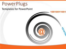 PowerPoint template displaying an orange @ symbol with a black swirl round it