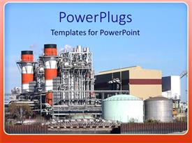 PowerPlugs: PowerPoint template with orange and white factory buildings against clear blue sky