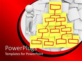 PowerPoint template displaying organizational chart diagram on yellow sticky notes with red marker and white 3D figure thinking
