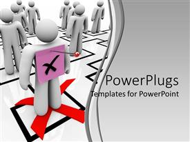 PowerPlugs: PowerPoint template with organizational chart with white 3D figures and one figure with pink sticky note and x letter pinned to his back