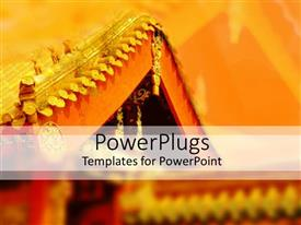PowerPlugs: PowerPoint template with oriental architecture depicting oriental styled roof corner with golden roof