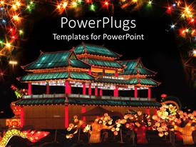 PowerPoint template displaying oriental building, chinese lanterns festival with lights on asian building, asian people celebrating with glittering colorful lights framing the depiction on black background