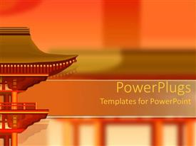 PowerPoint template displaying oriental building design on orange, red, yellow and green background