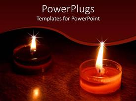 PowerPoint template displaying oriental candles glowing in the dark