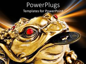 PowerPoint template displaying oriental Chinese Japanese feng shui metal frog with coin in mouth and red stones as eyes
