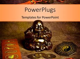 PowerPlugs: PowerPoint template with oriental coins and religious symbols around statue of praying Buddha