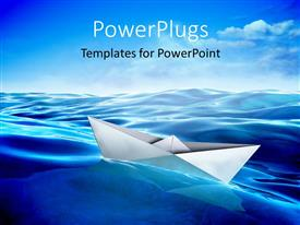PowerPoint template displaying origami paper boat floating in water with clouds
