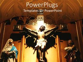 PowerPlugs: PowerPoint template with ornate carving of Jesus on cross between two onlookers