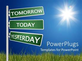 PowerPlugs: PowerPoint template with outdoor roadside sign written tomorrow, today, yesterday