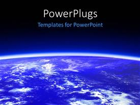 PowerPlugs: PowerPoint template with the outer view of the Earth with bluish background