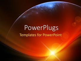 PowerPlugs: PowerPoint template with outline of a planet in front of a setting sun on a golden brown background
