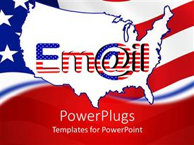 PowerPoint template displaying outline of USA with word Email in American flag pattern with