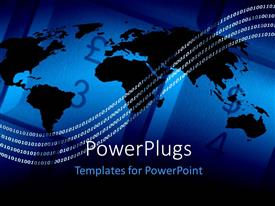 PowerPlugs: PowerPoint template with outline of world map over abstract background and digital circuit lines