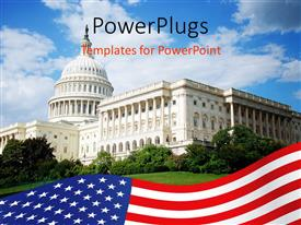 PowerPlugs: PowerPoint template with outside view of US Capitol building with blue sky, white clouds, landscaping, and American flag