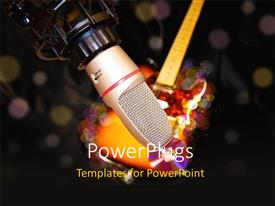 PowerPlugs: PowerPoint template with an over head studio microphone and a guitar with lights