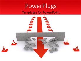 PowerPlugs: PowerPoint template with overcoming of  hurdles and obstacles with white color