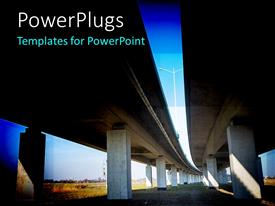 PowerPlugs: PowerPoint template with an overhead bridge on the road with in the background
