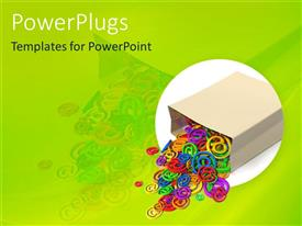 PowerPlugs: PowerPoint template with overturned paper bag spilling multicolored at signs