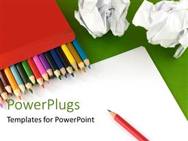 PowerPoint template displaying a pack of lots of color pencils on a white paper