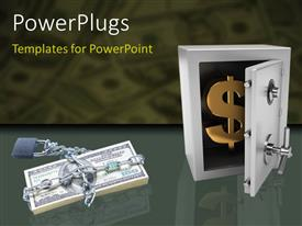 PowerPoint template displaying padlock and cain round dollar bills with gold dollar symbol in steel safe