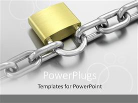PowerPlugs: PowerPoint template with padlock on chain, security, gray background