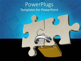PowerPlugs: PowerPoint template with padlock holding two pieces of jigsaw puzzle together on blue and black background