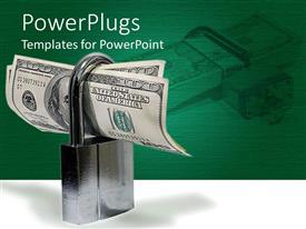 PowerPlugs: PowerPoint template with padlock protecting hundred dollar bills on green and white background