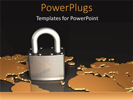 PowerPlugs: PowerPoint template with padlock on world map depicting world security