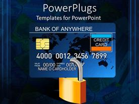 PowerPoint template displaying padlocked credit card with computer chip