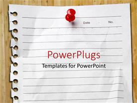 PowerPlugs: PowerPoint template with page pulled from spiral notebook pinned to board with red pin