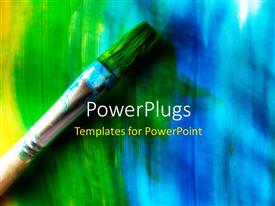 PowerPoint template displaying paint brush with abstract background of colored brush painting