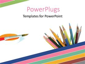PowerPoint template displaying a paint brush and lots of color pencils on a white background