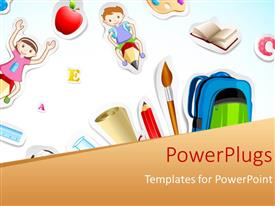 PowerPlugs: PowerPoint template with a paint brush with a number of kids
