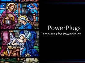 PowerPoint template displaying painted church glass window of the birth of Jesus
