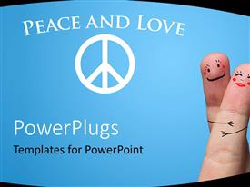 PowerPlugs: PowerPoint template with text which spell out the words 'peace and love' and two fingers beside it