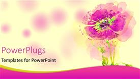 PowerPoint template displaying a close up view of a painted purple flower