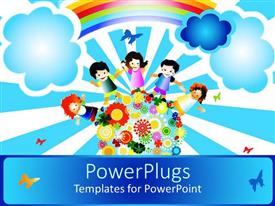 PowerPlugs: PowerPoint template with a painting of four happy school kids standing on an earth with flowers