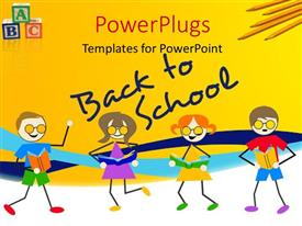 PowerPlugs: PowerPoint template with a painting of four pupils with a text that spell out the words 'Back to School'