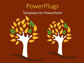 PowerPlugs: PowerPoint template with a painting of two tress on a brown colored background