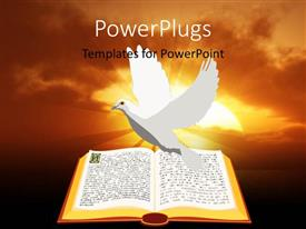 PowerPlugs: PowerPoint template with a painting of a white dove over an open Bible
